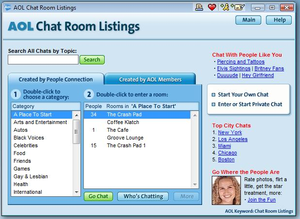 aol chat room listings homes